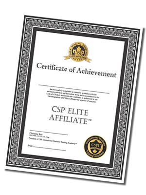 CSP Elite Affiliate Certificate