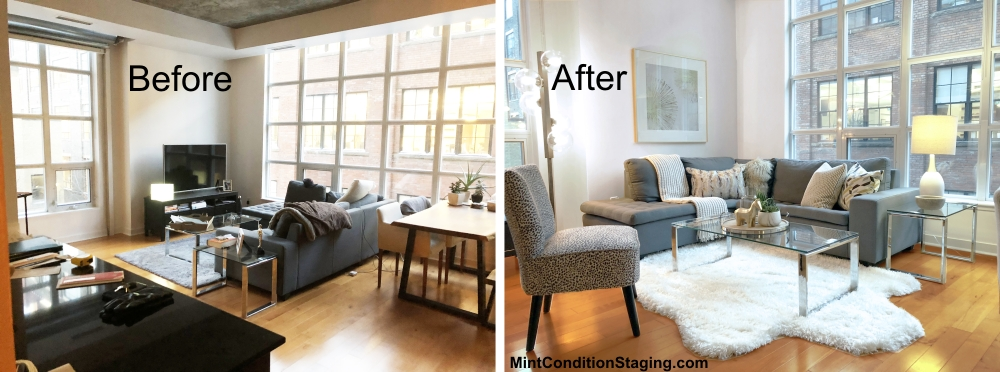 Before & after photos of a staged living room