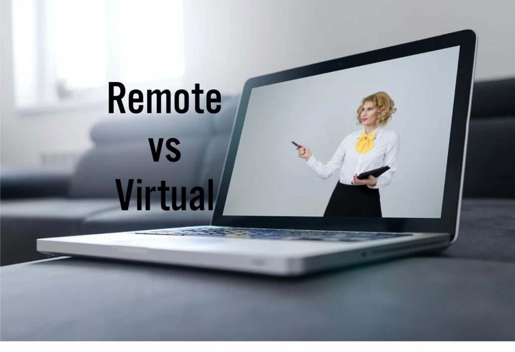 stager in computer screen remote consultation